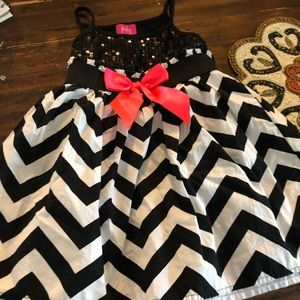 Black and white chevron dress with sequins bodice!